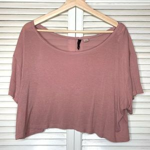 H&M blush pink jersey crop top